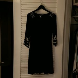 Black Old Navy dress, with cute white embroidery